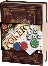 Комплект за покер в луксозна кутия - С карти, чипове и зарове -