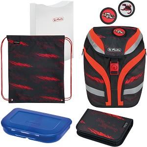 Ученическа раница - Softflex Plus: Driven - Комплект със спортна торба, папка, несесер и кутия за храна -