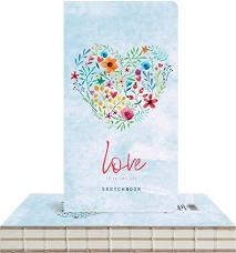 """Скицник с твърди корици - Сърце от цветя - С размери 9.4 x 17.2 cm от серията """"Love is in the air"""" -"""