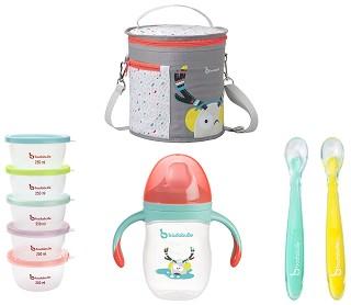 Детски комплект за хранене - С термоизолационна чанта, 5 броя контейнери, чаша с дръжки и 2 броя силиконови лъжички -
