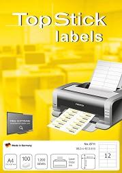 """Бели правоъгълни етикети за принтиране - 1200 самозалепващи етикета с размери 96.5 x 42.3 mm от серия """"TopStick"""" -"""