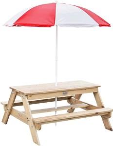 """Детска дървена градинска масичка с пейки - В комплект с чадър от серията """"Classic Educational"""" -"""
