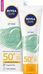 """Nivea Sun Face Mineral UV Protection - SPF 50+ - Слънцезащитен крем за лице с минерални филтри от серията """"Sun"""" -"""