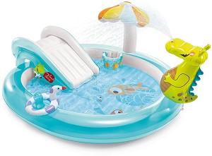 Надуваем детски център с пързалка - Алигатор - В комплект с надуваем пояс и кофа -