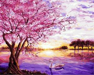 Рисуване по номера с акрилни бои - Цветен залез - Комплект за картина с размери 50 x 40 cm -