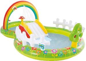 Надуваем детски център с пързалка - Градинка - В комплект с играчки -