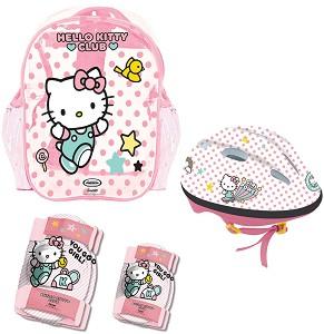 Детска каска и протектори - Hello Kitty -