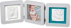 """Рамка за снимка и два отпечатъка - Baby Art: White - Комплект от серия """"Modern Trendy"""" -"""