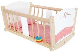 Бебешко легло-люлка за кукли - Дървена играчка -