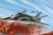 Изтребител - F-117 Stealth Fighter - Сглобяем авиомодел - комплект с лепило и бои -
