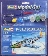 Изтребител - P-51D Mustang - Сглобяем авиомодел - комплект с лепило и бои - макет
