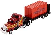 Влекач с ремарке и контейнер за международен транспорт -