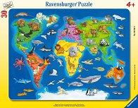Карта на света с животни - пъзел