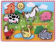 Животните във фермата - Детски дървен пъзел -