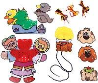 Животни - 3 комплекта шаблони за нанизване - играчка
