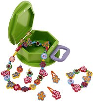 Детски бижута - Цветя - Комплект в дървена чантичка - играчка