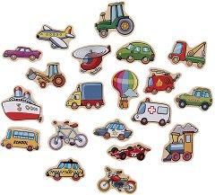 Магнити превозни средства - Комплект дървени фигури в кутия - играчка