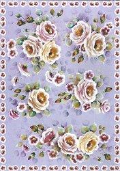 Декупажна хартия - Рози на лилав фон 683 - Дизайн на Ros Singleton