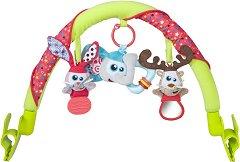 Арка с висящи играчки - Животни - За детска количка, кошче за кола, кош за новородено, бебешки шезлонг или сгъваемо легло - продукт