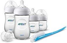 Комплект за новородено - Natural - С шишета, биберони, залъгалка и четка за почистване на шишета -