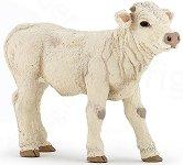 """Теленце - Charolais Calf - Фигура от серията """"Животните във фермата"""" - играчка"""