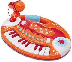 Електронен синтезатор с 18 клавиша и микрофон - Детски музикален инструмент - количка