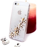 """Калъф за iPhone 5 - Дизайн """"Златни цветя в бяло"""" -"""