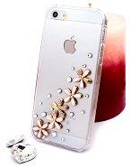 """Калъф за iPhone 5 - Дизайн """"Златни цветя в розово"""" -"""