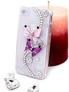 "Калъф за iPhone 4/4S - Дизайн ""Лилави пеперуди"" - продукт"