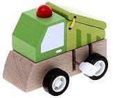 Боклукчийски камион - Дървена играчка с механизъм - играчка