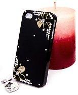 """Калъф за iPhone 4/4S - Дизайн """"Нежни цветя в черно"""" - продукт"""