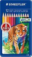Цветни моливи - Noris Club 145 - Комплект от 12 цвята в метална кутия