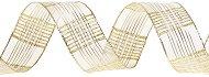 Тъкана панделка с тел - златисто каре - Ролка 4 cm x 10 m