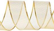 Тъкана панделка с тел - златиста - Ролка 4 cm x 9.15 m