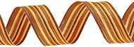 Тъкана панделка с тел - златиста с оранжево и кафяво - Ролка 4 cm x 9.15 m
