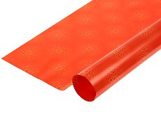 Двустранен опаковъчен лист - Кръгове в патешко жълто и оранжево - Целофан с размери 70 x 100 cm