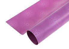 Двустранен опаковъчен лист - Кръгове в лилаво - Целофан с размери 70 x 100 cm