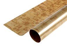 Двустранен опаковъчен лист - Правоъгълници в златисто - Целофан с размери 70 x 100 cm