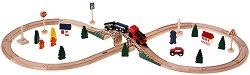 """Железопътна линия """"Фигура 8"""" - Дървено влакче с релси - играчка"""