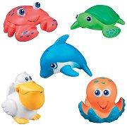 Гумени животинки - Комплект от 5 бебешки играчки за баня - играчка