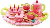 Чаено парти - Lili Rose - Детски комплект за сервиране от дърво - фигура