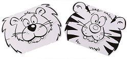 """Маски за оцветяване - Лъв и тигър - Творчески комплект от 2 маски от серията """"Calalinos"""" - играчка"""