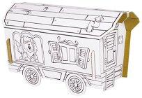 """Вагон на цирка - Комплект картонен модел с маркери за оцветяване от серията """"Level 1"""" - играчка"""