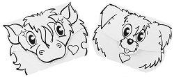 """Маски за оцветяване - Куче и пони - Творчески комплект от 2 маски от серията """"Calalinos"""" -"""