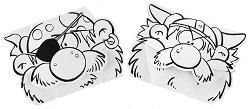 """Маски за оцветяване - Пират и викинг - Творчески комплект от 2 маски от серията """"Calalinos"""" - продукт"""