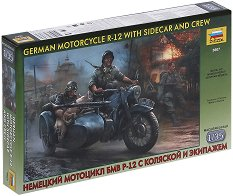 Немски мотор с кош - BMW R-12 с войници - Сглобяем модел - макет