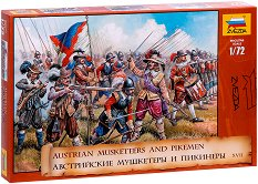 Австрийски мускетари и пиконосци - Комплект от 45 сглобяеми фигури - макет