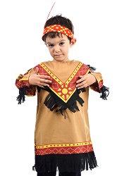 Парти костюм - Индианец - Комплект с лента с перо -