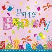 Салфетки - Happy Birthday - Пакет от 20 броя