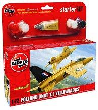"""Самолет - Folland Gnat T.1 """"Yellowjacks"""" - Сглобяем модел - комплект с лепило и бои -"""